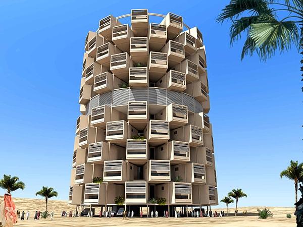 Maisons temporaires verticales: conception par INJ ARCHITECTS