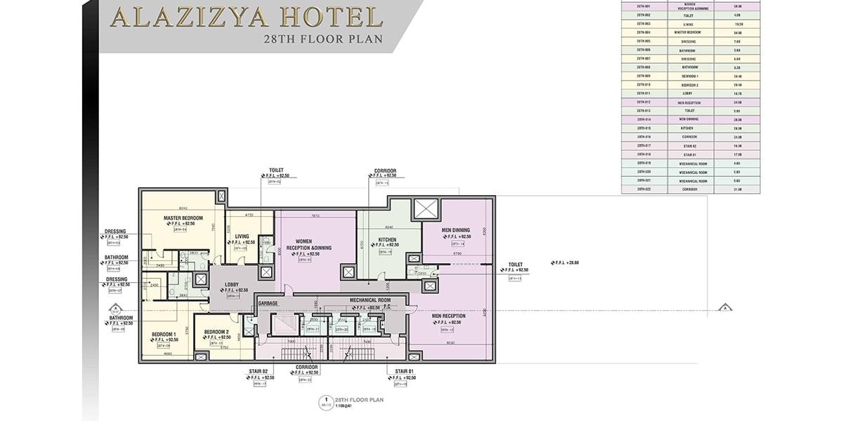 plan architectural Aziziyah Hotel par INJ ARCHITECTS