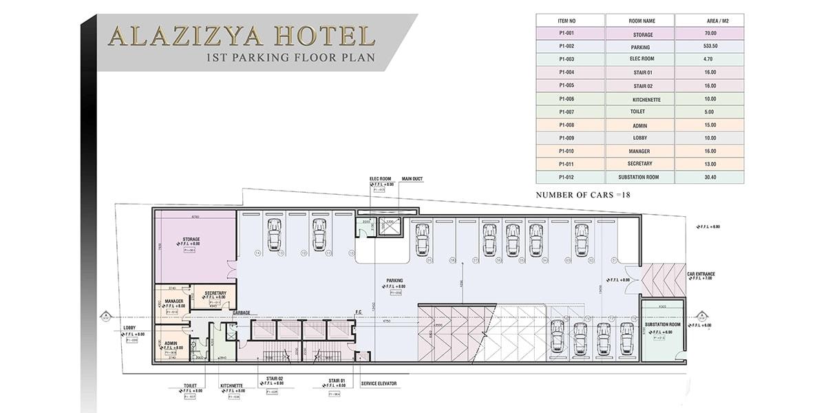 plan Al Aziziyah Hotel par INJ ARCHITECTS
