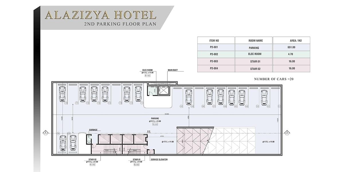 plan de conception Al Aziziyah Hotel par INJ ARCHITECTS