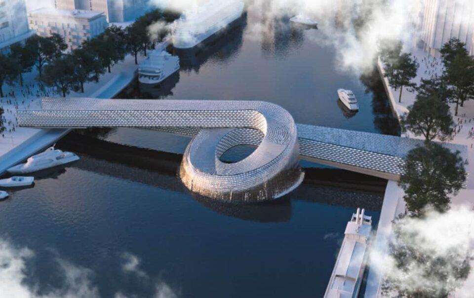 Pont piétonnier incurvé INJ ARCHITECTS